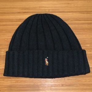 Polo Ralph Lauren Black Wool Knit Beanie Hat Cap!